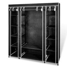 shumee Garderobna omara iz blaga s predelki 45x150x176 cm črna
