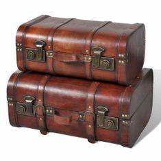 shumee Drewniane kufry vintage, brązowe, 2 szt.