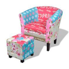 shumee Fotelj s stolčkom za noge dizajn mozaika iz blaga