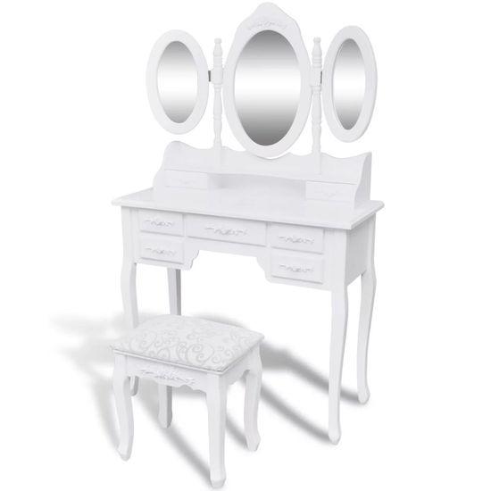 shumee Toaletna miza s stolčkom in 3 ogledali bele barve