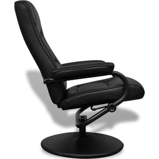 shumee TV fotelj s stolčkom za noge črno umetno usnje