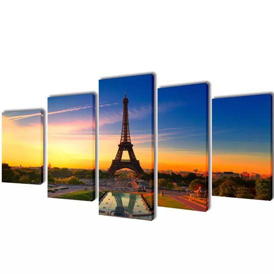 shumee Nyomtatott vászon falikép szett Eiffel-torony 200 x 100 cm