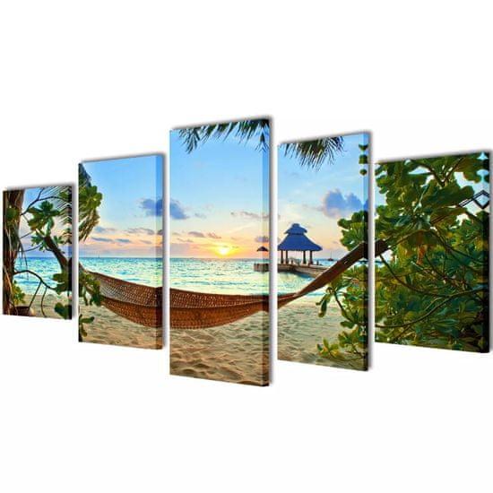 Greatstore Sada obrazov na stenu, motív Piesočnatá pláž s hojdacou sieťou 100x50