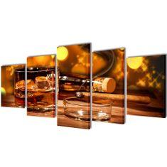 shumee Nyomtatott vászon falikép szett whiskey és szivar 200 x 100 cm