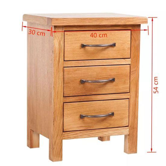 shumee Nočna omarica 3 predali 40x30x54 cm trdna hrastovina