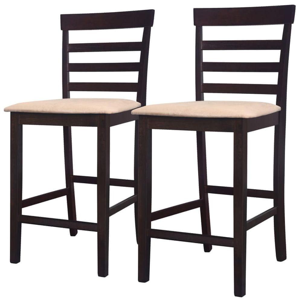 Barové židle 2 ks hnědé textil
