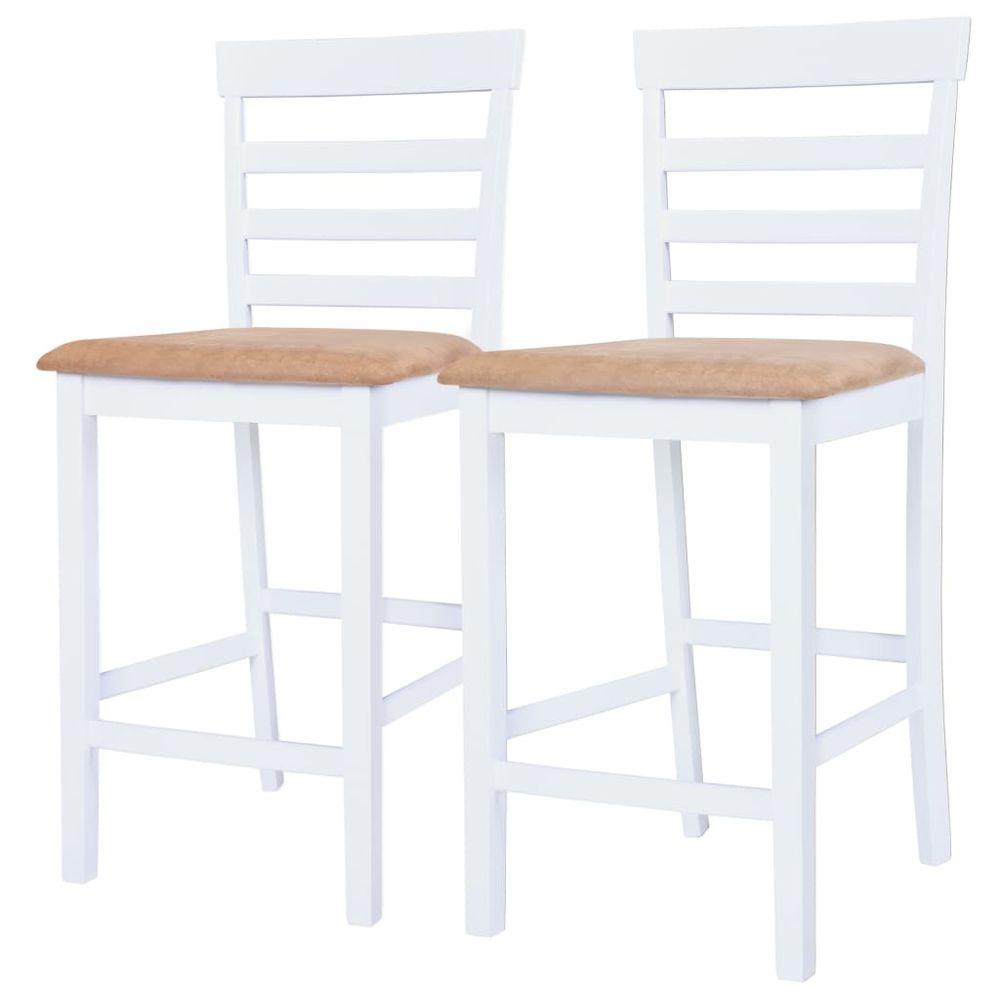 Barové židle 2 ks bílé textil