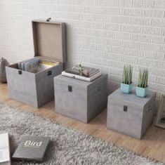 shumee 3 pudła do przechowywania z MDF w kolorze szarego betonu