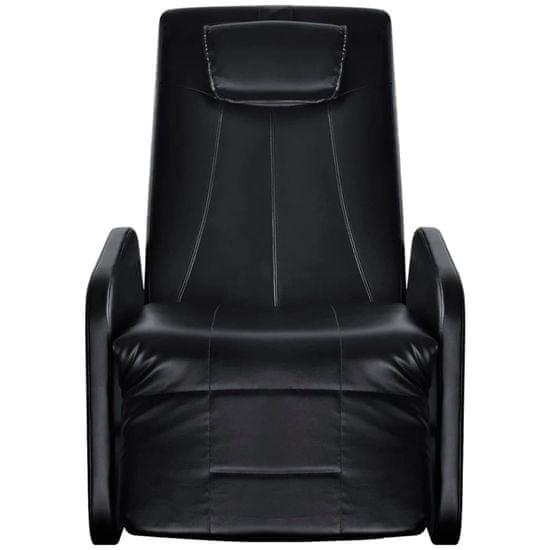 shumee Fotel masujący, czarny, sztuczna skóra