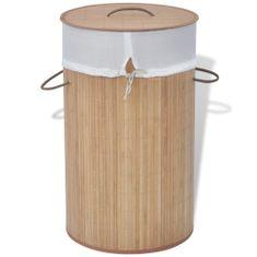 shumee Koš za perilo iz bambusa okrogel naravne barve