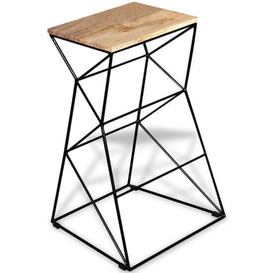 shumee Barski stolček iz trdnega mangovega lesa