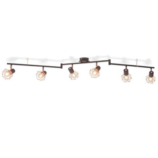 shumee fekete és sárgaréz mennyezeti lámpa 6 spotlámpával E14
