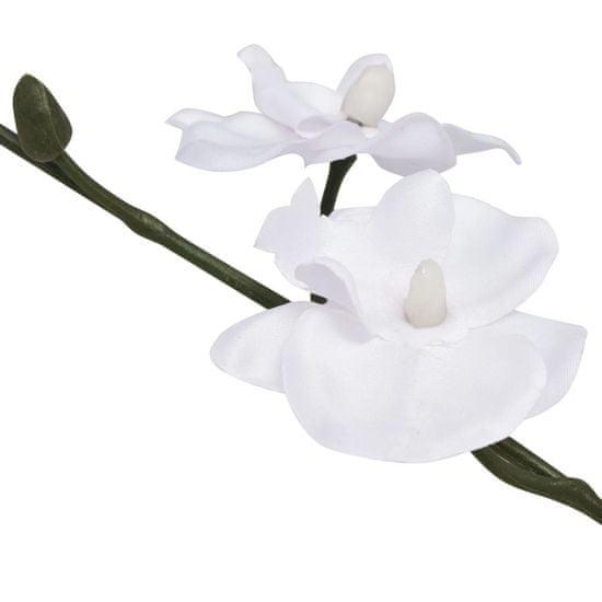 shumee Umetna rastlina orhideja v loncu 30 cm bela