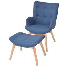 shumee Fotelj s stolčkom za noge modro blago