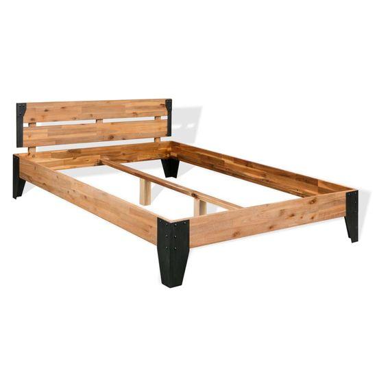 slomart Postelja z vzmetnico trdni akacijev les in jeklo 140x200 cm