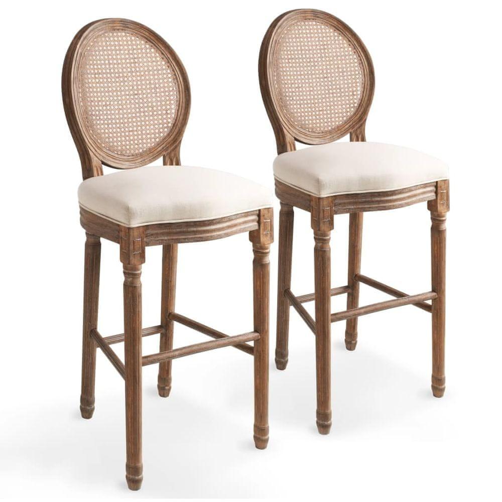 Barové židle 2 ks bílé lněné