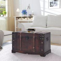 shumee Vintage truhlica na klenoty, drevená, 66x38x40 cm