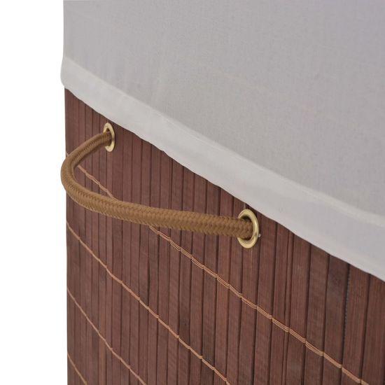 shumee Koš za perilo iz bambusa pravokoten rjav