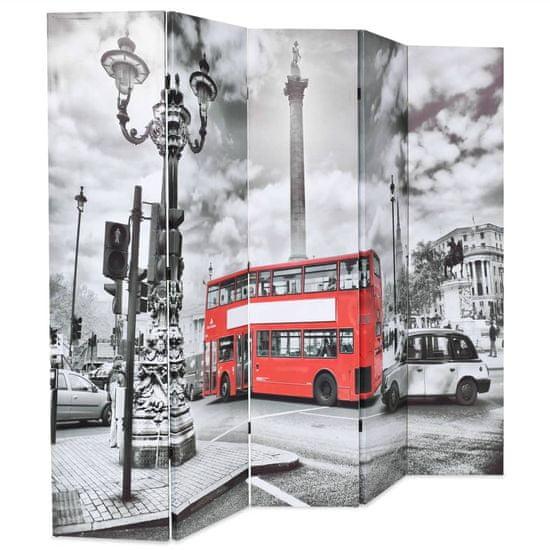 shumee Zložljiv paravan 200x170 cm londonski avtobus črn in bel