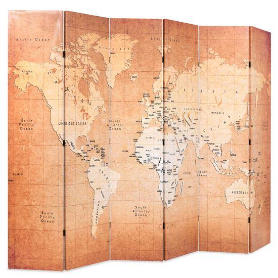 shumee Zložljiv paravan 228x170 cm zemljevid sveta rumen