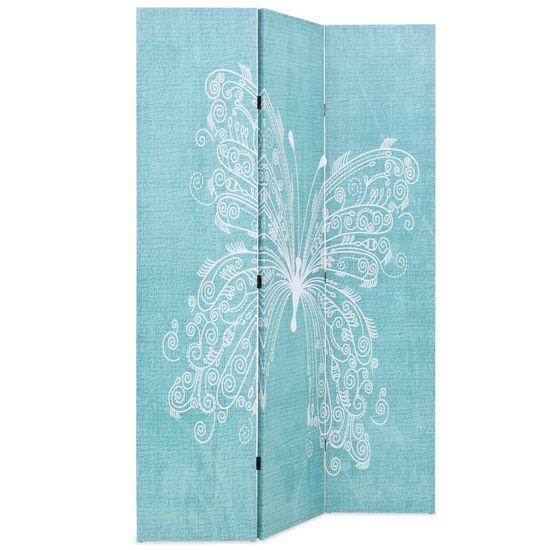 shumee Zložljiv paravan 120x170 cm metulj moder
