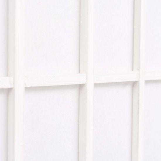 shumee Zložljiv 3-delni paravan japonski stil 120x170 cm bele barve