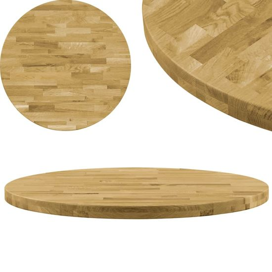 slomart Površina za mizo trden hrastov les okrogla 44 mm 600 mm