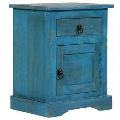 shumee Nočna mizica iz trdnega mangovega lesa 40x30x50 cm modra