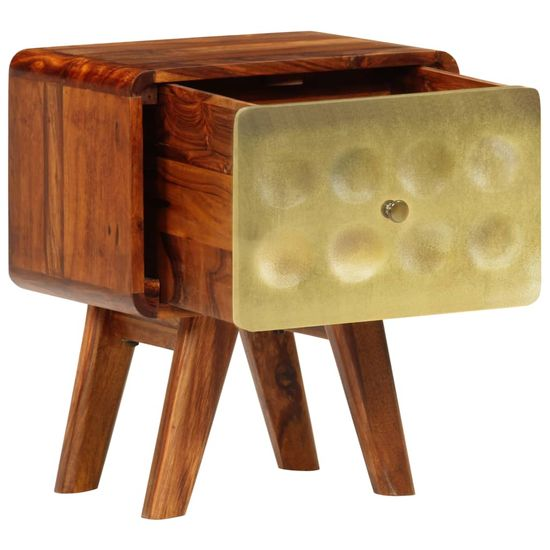 shumee Stolik nocny, lite drewno sheesham, złoty nadruk, 49x40x30 cm