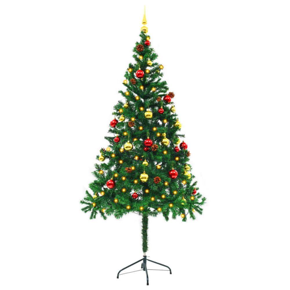 Umělý vánoční stromek ozdobený s baňkami a LED 180 cm zelený