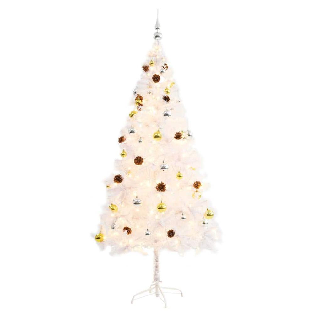 Umělý vánoční stromek ozdobený s baňkami a LED 180 cm bílý