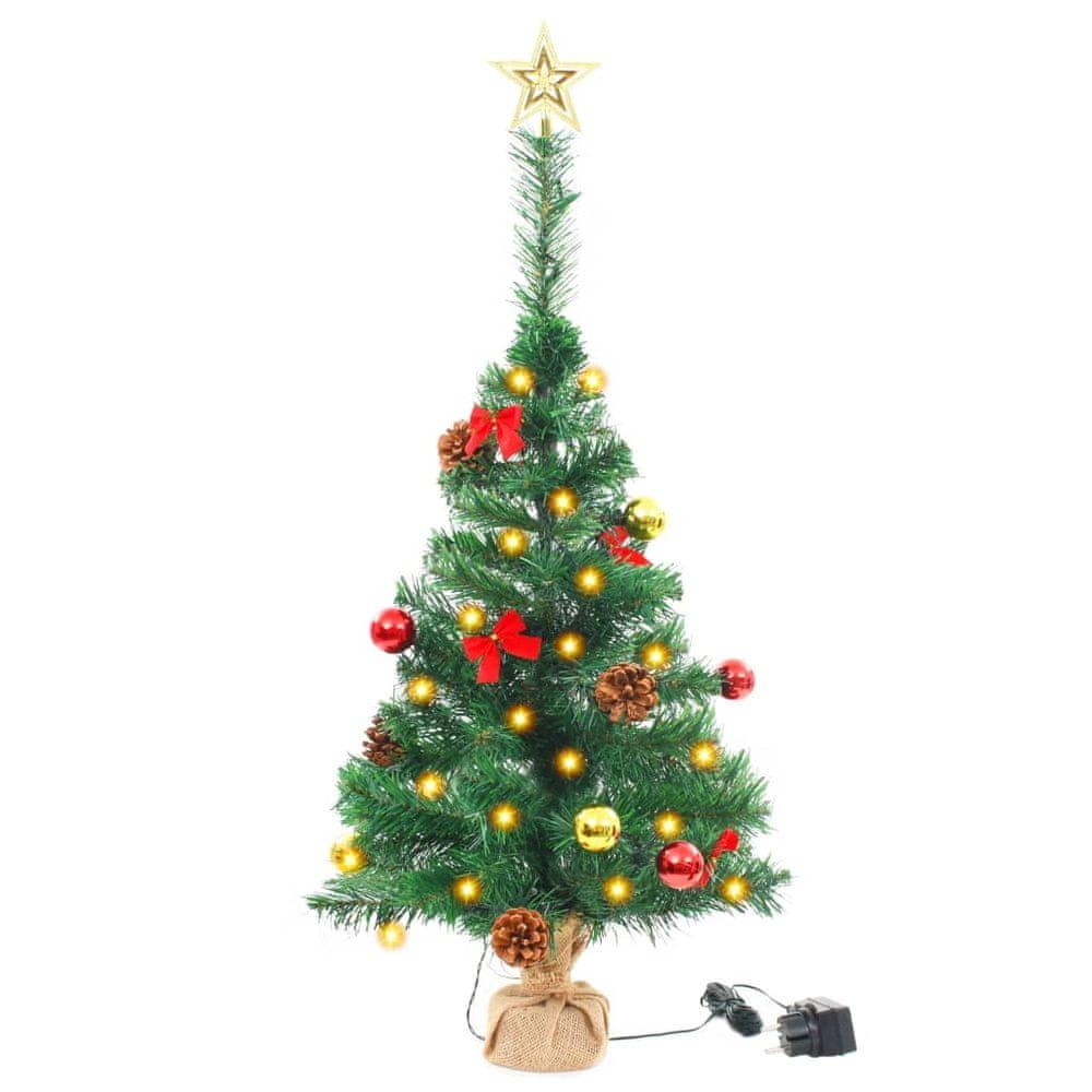 Umělý vánoční stromek ozdobený s baňkami a LED 64 cm zelený