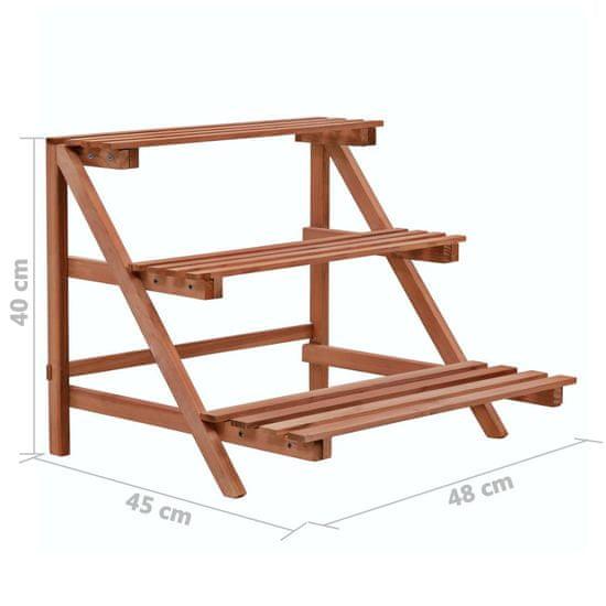shumee 3patrový stojan na květiny cedrové dřevo 48 x 45 x 40 cm