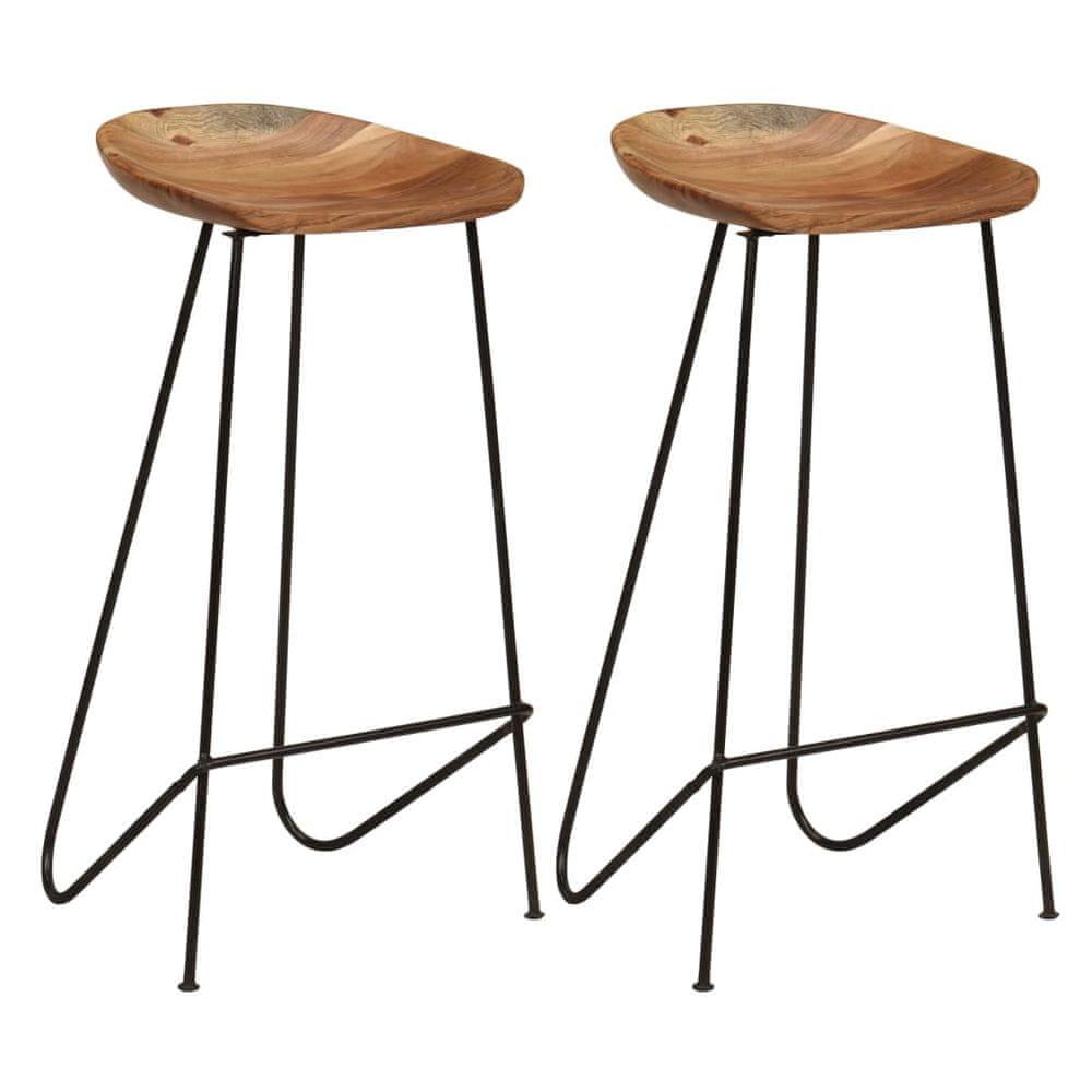 Barové stoličky 2 ks masivní akáciové dřevo