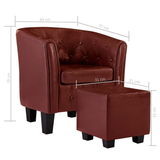 shumee Tubast stol s stolčkom za noge iz vinsko rdečega umetnega usnja
