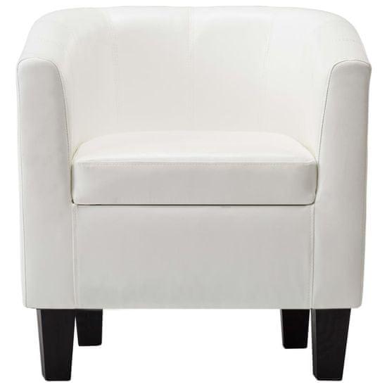 shumee Tubast stol s stolčkom za noge iz belega umetnega usnja