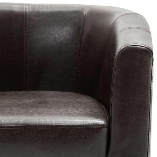 shumee Tubast stol iz temno rjavega umetnega usnja
