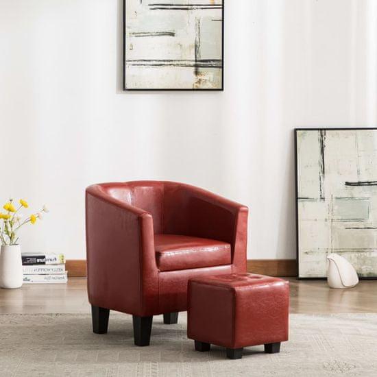 slomart Tubast stol s stolčkom za noge iz vinsko rdečega umetnega usnja