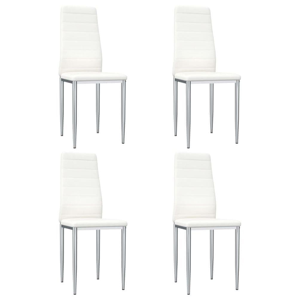 Jídelní židle 4 ks bílé umělá kůže