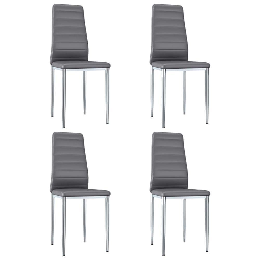 Jídelní židle 4 ks šedé umělá kůže