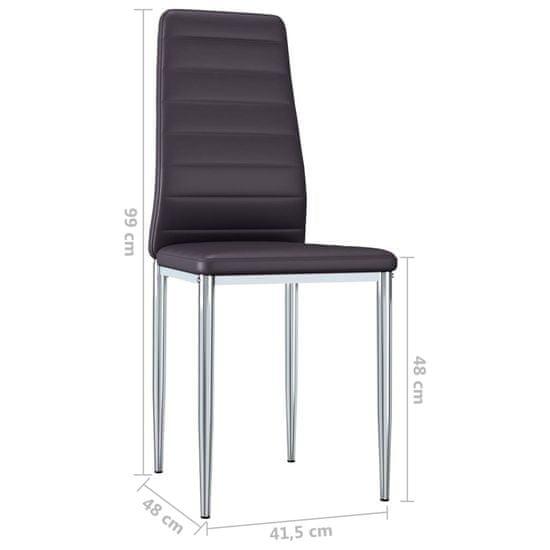 shumee Jedilni stoli 6 kosov rjavo umetno usnje