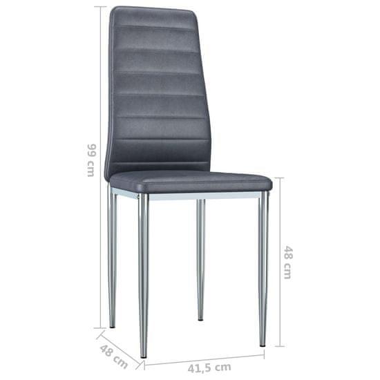 shumee Jedilni stoli 6 kosov sivo umetno semiš usnje