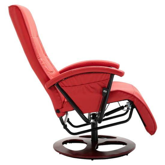 shumee Vrtljiv TV fotelj iz rdečega umetnega usnja