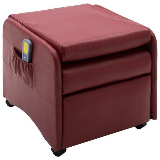shumee Rozkładany fotel do masażu, czerwone wino, sztuczna skóra