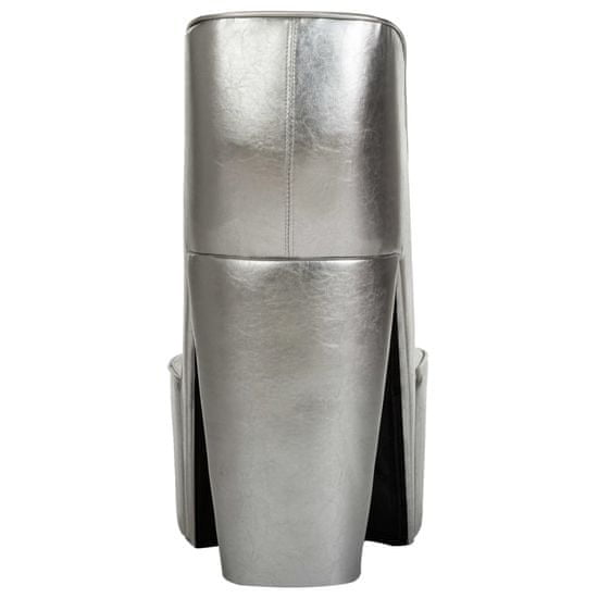 shumee Fotel w kształcie buta na obcasie, srebrny, sztuczna skóra