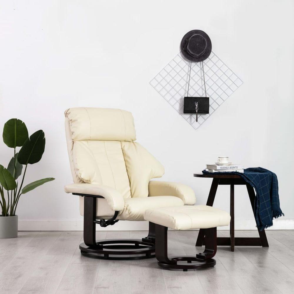 Polohovací TV křeslo s podnožkou bílé umělá kůže