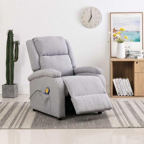 shumee Rozkładany fotel masujący, jasnoszary, tkanina