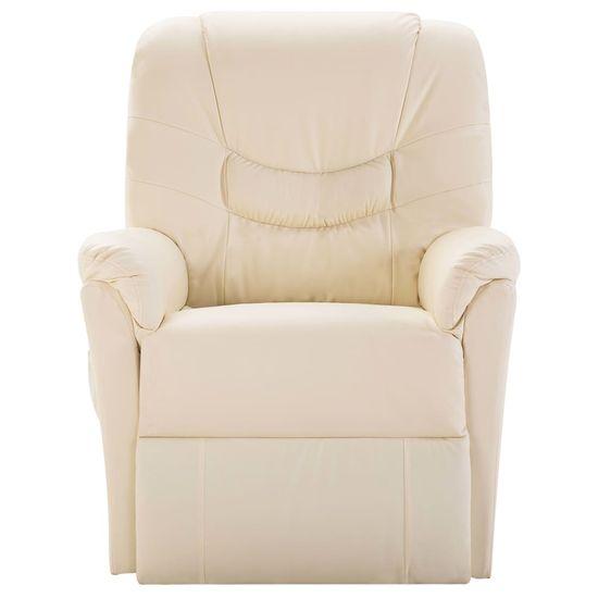 shumee Fotel rozkładany, kremowy, sztuczna skóra