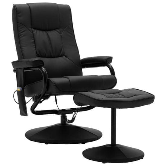shumee Fotel masujący z podnóżkiem, czarny, sztuczna skóra