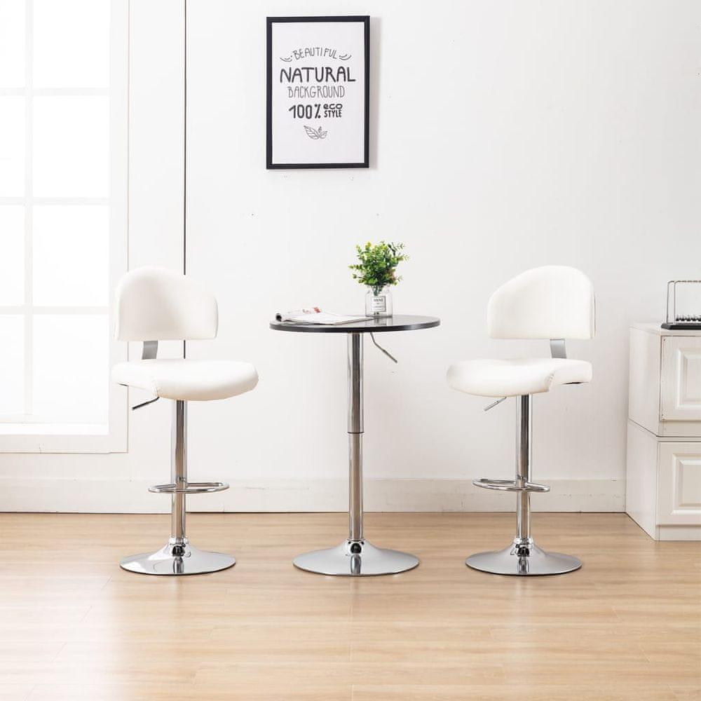 Barové stoličky 2 ks bílé umělá kůže